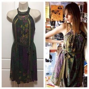 Anthropologie Floral Halter Loose Green Dress